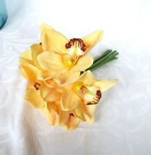 Artificial real touch yellow orchid bouquet bundle containing 7 orchids