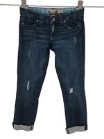 Paige Womens Blue Heights Jeans Sz 27 Distressed Slim Straight Cropped Cuffed