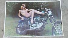 Vintage Original 1970 Harley Davidson  Poster , girl on harley Davidson chopper