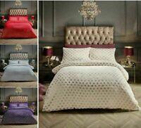 Heart Foil Pattern Teddy Fleece Duvet Covers Luxury Soft Warm Cosy Bedding Sets