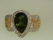 BEAUTIFUL 10K SOLID GOLD FILIGREE APPROX. 1 3/4 CTW GREEN GARNET & DIAMOND RING!