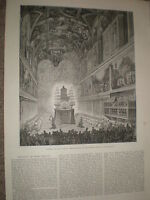 Funeral of Pope Pius IX requiem Sistine Chapel 1878 print and article ref Y1