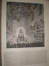 Funérailles du pape Pie IX Requiem Chapelle Sixtine 1878 imprimer et article Ref Y1