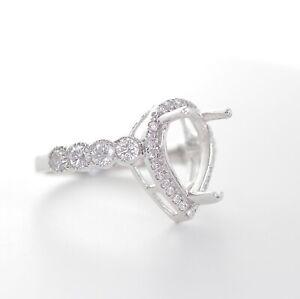 14K WHITE GOLD DIAMOND HALO PEAR SHAPED ENGAGEMENT SEMI MOUNT RING 6.5US
