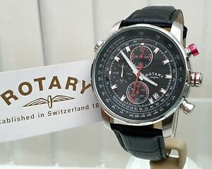 NEW Rotary Mens Watch Black leather strap, Chronograph,Luminous RRP£189