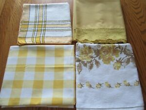 Vintage Lot 4 Tablecloths- Yellow Roses, Stripes, Checks, Lace - Crafts, Cutters