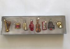 Set of 8 Musical Instrument Christmas Ornaments Hand Blown Glass