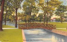 BLOOMFIELD, NJ New Jersey BROOKSIDE PARK~Foot Bridge 1951 Tichnor Linen Postcard