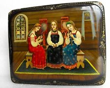 Vintage Art by FEDOSKINO Lacquer USSR Box Russian Hand Painted Signed AKBEROV
