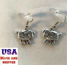 Silver Lamb Sheep Dangle Earrings Religious Peace New 3D Women Hypo-Allergenic!