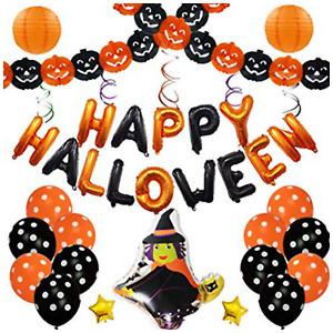 "16"" Happy Halloween Foil Balloons Polka Dot Plain Baloons Orange Black Ribbons"