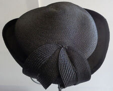 Vintage Women's Black Bowed Style Hat tightly woven straw with Felt Brim