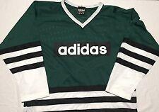 VTG Adidas Green White Black 3 Stripe Mesh Hockey Jersey - Mens L Hip Hop Street