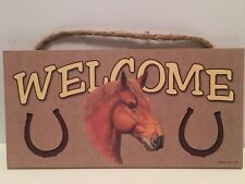 Welcome Chestnut Red Brown Horse Wood Sign/Wall Plaque