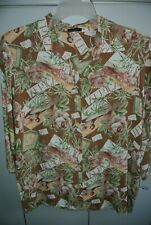 Loco Lido Womens Medium  African Postcards & Flora on Brown Rayon Crepe L/S/Nice