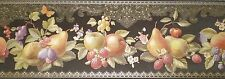 Beautiful Black Satin Border with Fruit & Gold Accents by Fine Decor B.6627