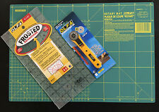 OLFA CUTTING MAT 42.5 X 27.5CM + ROTARY CUTTER RTY-1/G + FROSTED RULER 6''X12''