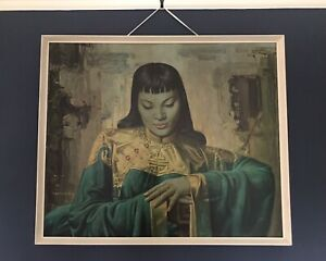 Vintage Lady From Orient Vladimir Tretchikoff 1955 Print Boots Frame Fantastic!