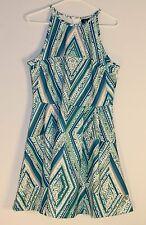 Mossimo Sleeveless Fit Flare Dress Woman's Size L Color Blue White