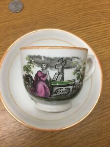 ANTIQUE China  TEMPERANCE FAITH HOPE & CHARITY CUP & SAUCER