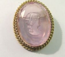 Vintage One of a Kind. Pink Cameo  Hand  Carved  Pin Brooch