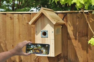 IP Wired Camera Bird Box | Smartphone Garden Hanging Nest Wooden Pitched Roof