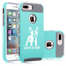 For iPhone X SE 5 6 6s 7 8 Plus Dual Shockproof Case Love-a-bull French Bulldog