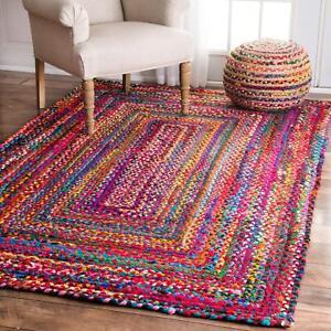 Rectangle Chindi Area Rag Rug Hardwood Floor Mats Natural Braided Rug 3x5 Feet
