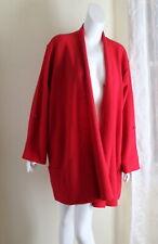 Eileen Fisher -sz 1X 2X RED Boiled 100% Merino Wool Fabulous Open Coat Jacket