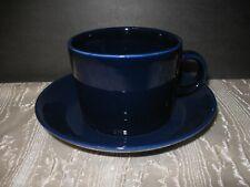 Vintage 2 Pc ARABIA FINLAND Kaj Franck KILTA TEEMA Cobalt Blue flat CUP SAUCER
