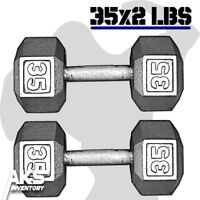 Pair of 35 Pound Cast Iron Hex Dumbells Home Gym Exercise Workout Free Weights