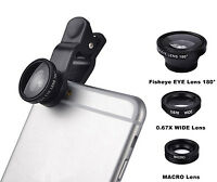 3 in1 Fish Eye + Wide Angle Micro Lens Camera Kit for Phone Samsung Portable New
