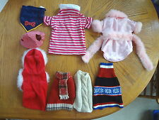 AWESOME LOT OF 8 DOG CLOTHES, OUTFITS, HAT, & BANDANA IN SIZES SMALL AND MEDIUM