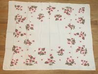 "VINTAGE TABLECLOTH Pink Cyclamen Flowers Floral Beautiful Home Decor 43"" x 55"""
