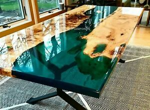 """Epoxy table-custom order Acacia Wooden table with iron legs 29"""" inches tall Deco"""
