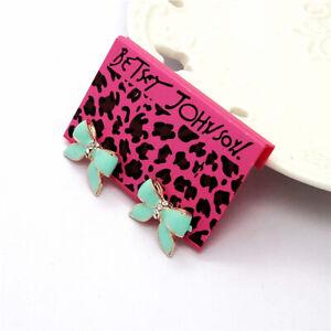 Betsey Johnson Fashion Lovely Blue Enamel Bowknot Wonmen Earrings Gift