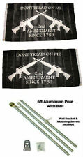 3x5 2nd Amendment Gadsden Rifles 2ply Flag Aluminum Pole Kit Gold Ball Top 3'x5'