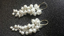 White wedding earrings pearls silver cluster or grapes style