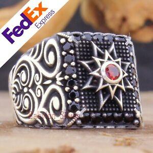 Ruby & Black CZ 925 Sterling Silver Turkish Handmade Men's Ring All Sizes