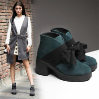 Retro Women Suede Round Toe Chunky Heel Ankle Boots Fall Winter Platform Shoes
