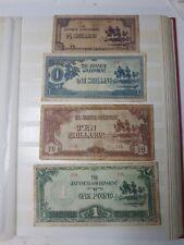 JAPANESE VINTAGE BANKNOTES X 4, JAPANESE OCCUPATION MONEY 1 pound, 10 shillings