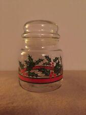 "Christmas / Holiday Holly Candy Jar - 5 1/2"" tall"