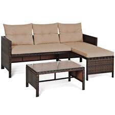 3 PCS Rattan Sofa Set Wicker Couch Set Outdoor Patio Furniture w/ Table& Cushion