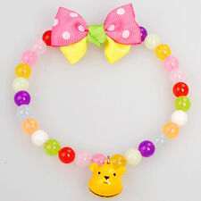 Dog Colorful Ball Necklace Collar Charm Bear Pendant Bowknot Pet Puppy Jewelry