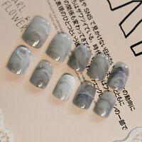 Marmor Farbe gefälschte Fingernägel Full Cover gefälschte falsche Nail Art Tipps