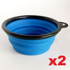 2x Dog Travel Water Bowls Set - Flexible Collapsible Portable 2 Pack - UK Seller