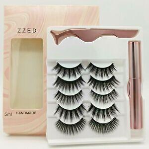 Waterproof Magnetic Eyelashes 5 pairs + Eyeliner + Tweezer Long Lashes Set UK