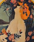 Rare LARGE 1800 s ANTIQUE French Paris Art Deco Lady France lithograph 100yr Old