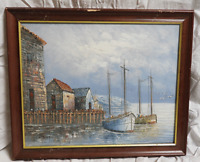 Framed Original Oil Painting of Boats in  Harbour - Signed W Jones