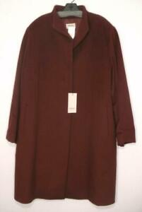 NWT Cinzia Rocca Icons Wool Blend Stand Collar Coat Berry 20